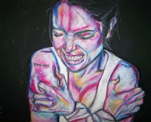 """Brand,"" (psychiatric number), oil pastel 19x24"", April Mansilla, self-portrait, 2011"