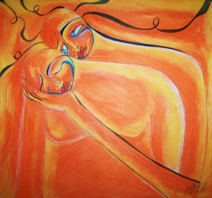 """When I fall, you are there to catch me,"" oil pastel and ink, April Mansilla"