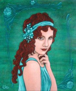 Adele Riner  La Rousse aquamarine 54 x 65 cm Vendu