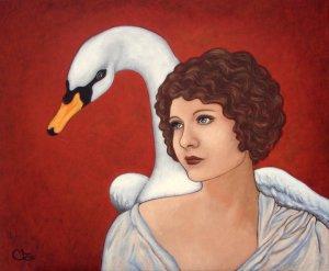 Adele Riner  Léda dans le rouge 65 x 54 cm Acrylique sur toile Vendu : sold