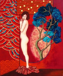 Adele Riner  Nu très japonisant Acrylique, feuille d'or et pigments - 54