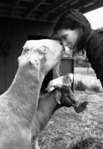 Jonna with goat in her home in Vancouver, Washington