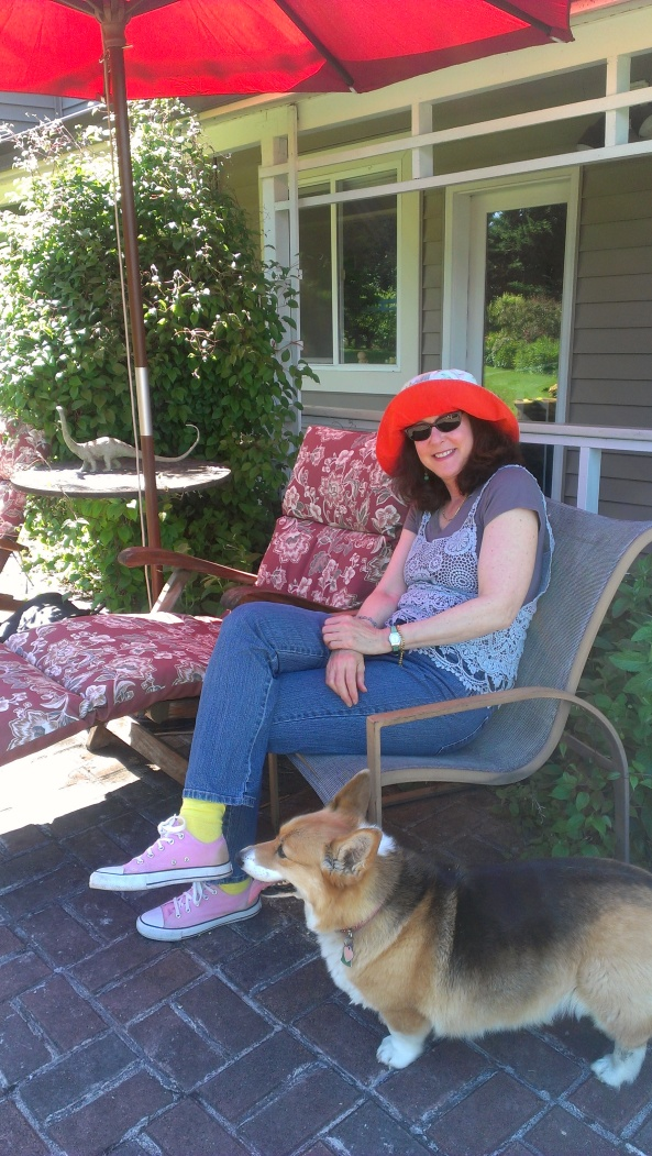 Nicole Rubel relaxing at her sprawlng ranch property in Aurora, Oregon.