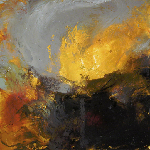 """Desert Song,"" 18 x 18, mixed media on steel, Mike Baggetta, Portland, Oregon"
