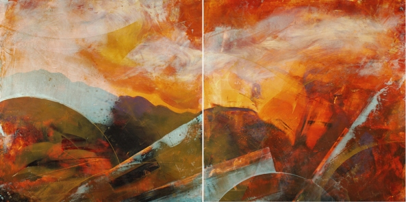 """A Poem Set to Music,"" 24H x 48W diptych, mixed media on board. Mike Baggetta"