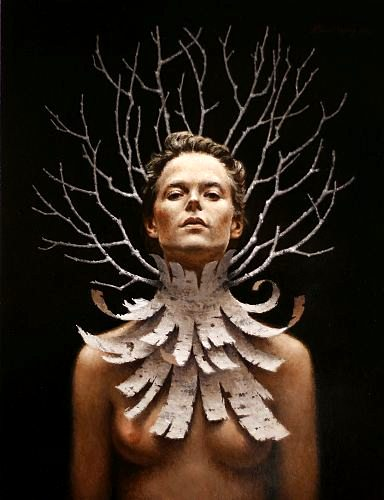 """The Bark Necklace""  oil on panel   24 x 18 in. Steven Kenny 2009"