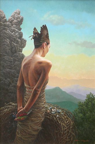 """Birdlady""   oil on linen   36 x 24 in."