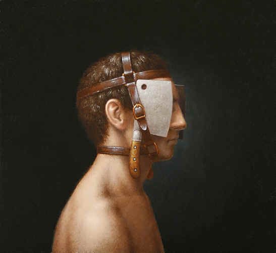 """Man with Blinders,""  oil on panel   12.75  x 14 in. Steven Kenny 2012"
