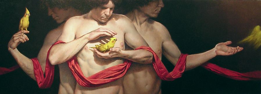 """The Exchange""    oil on linen    22 x 60 in."
