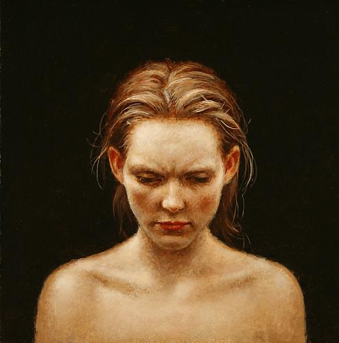 """Her First Glimpse of Hell""  oil on panel   5 x 5 in. Steven Kenny 2009"