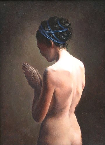 """Figure Praying""      oil on panel  16 ¼  x 12 in."
