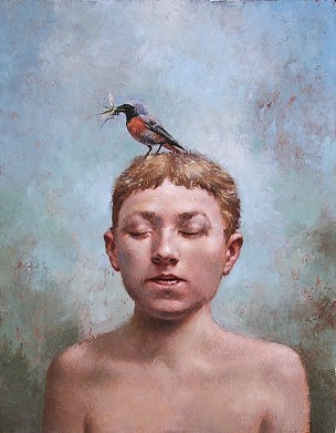 """First Bird,"" oil on canvas    14 x 11 in. Steven Kenny 2003"