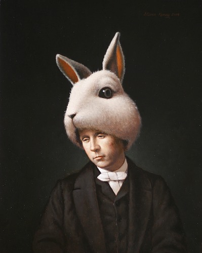 """Lewis Carroll as the White Rabbit"" oil on panel   24 x 18 in  Steven Kenny 2008"
