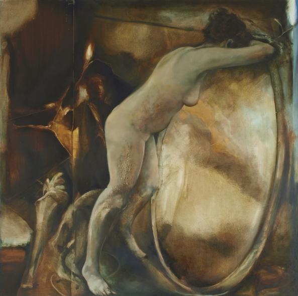 "Sisyphus oil on board 36"" x 36"" © David Begley 2012"