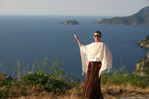 Julie Maloney in front of Aegean Sea