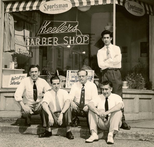 Salvatore Ala's Father at the first barbershop where he worked.