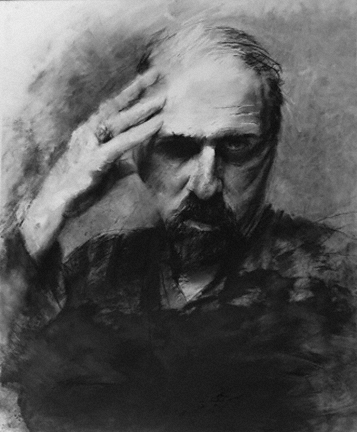 "Steven DaLuz, ""Self-Portrait 0509""; conte, charcoal and black gesso on frosted mylar"