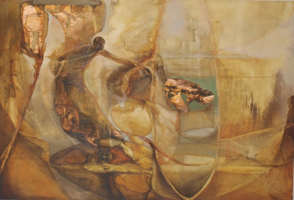 """""""The water Table"""" Oil, copper leaf on board, 3ft 8"""" x 5ft 6"""" © David Begley 2009 - 2010"""