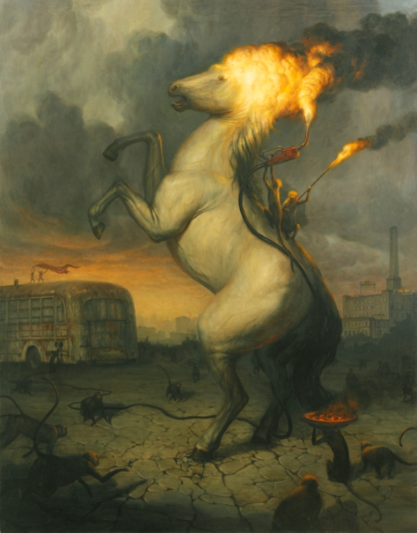 Martin-Wittfooth-horse-rearing-monkeys-back-on-fire-thepassions_sacrifice_web